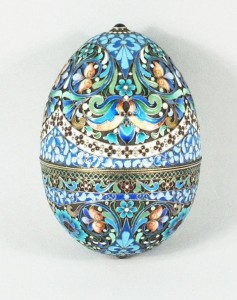 This Faberge egg is a classic of decorative art.  The enamel is used just as a background color. What is the message of the piece?  Life is a great party if you are rich enough to afford such expensive fluff.  Not a very significant message, is it?