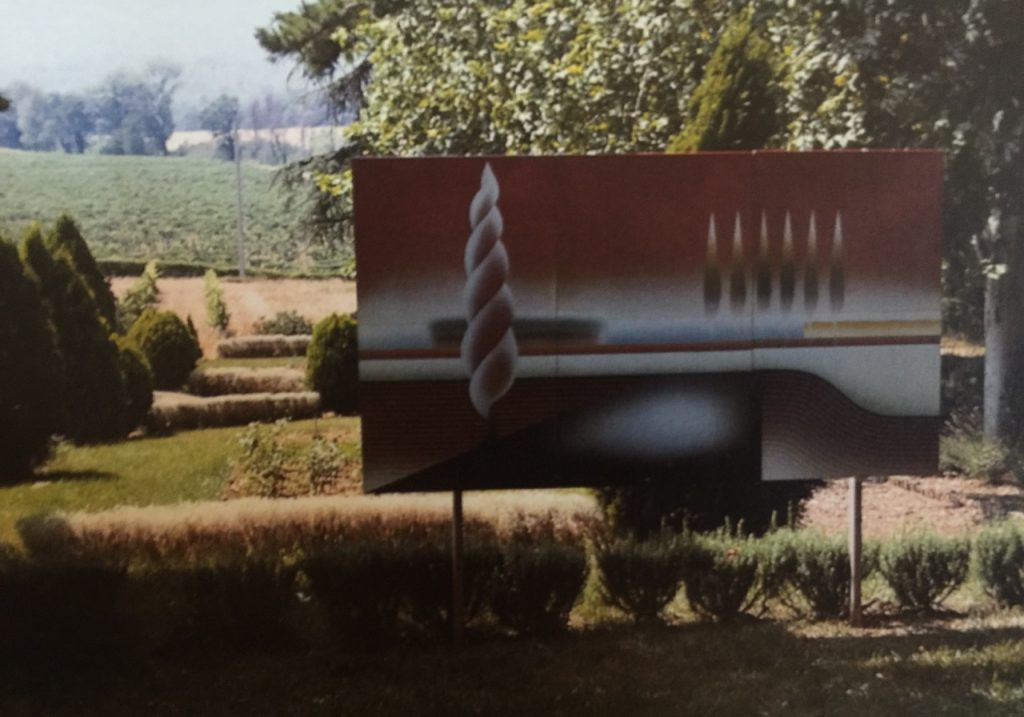 Lavandou Landscape. 3 piece enamel on steel mural. 1980. 6ft x 8 ft.