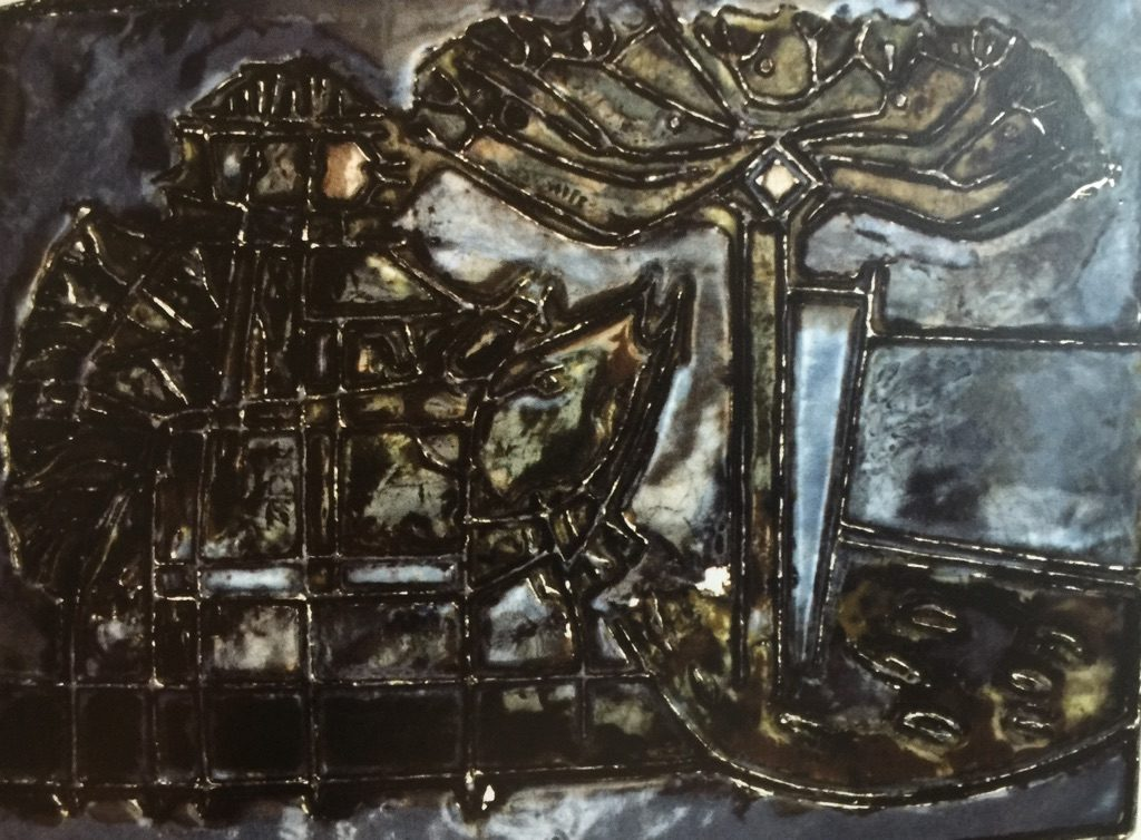 Pilgrimage. Enamel on copper. 1956 (24 in x 32 in). Example of early Knapp work.