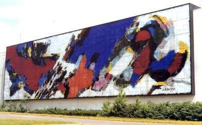 Mural by Stefan Knapp. 1961 Enamel on steel, 200 ft x 50 ft. Originally on display at Alexander's Department Store in Paramus, New Jersey.