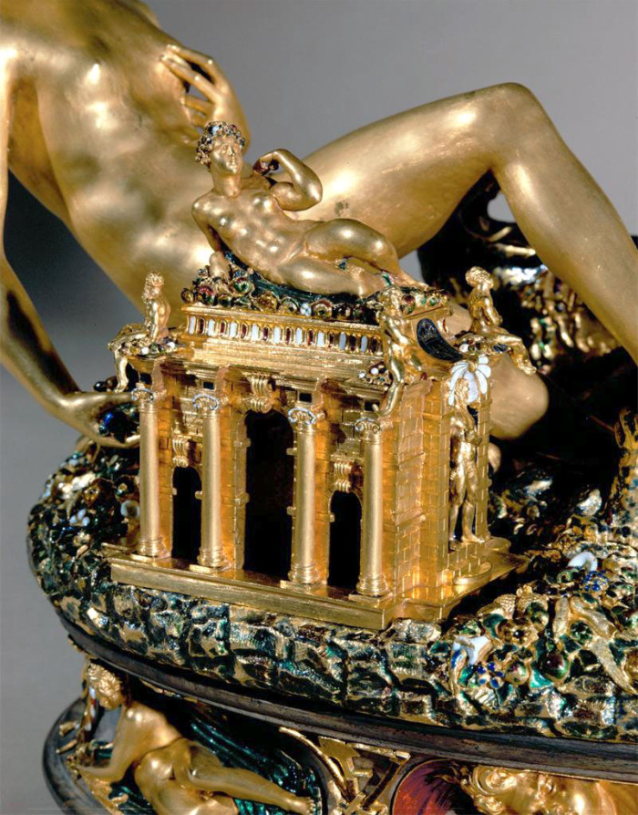 Creator: Benvenuto Cellini; Date: 1540-1543; Material: gold, niello work, ebony base; Measurements: overall height 26 cm; Repository: Kunsthistorisches Museum Wien, inv. 881.