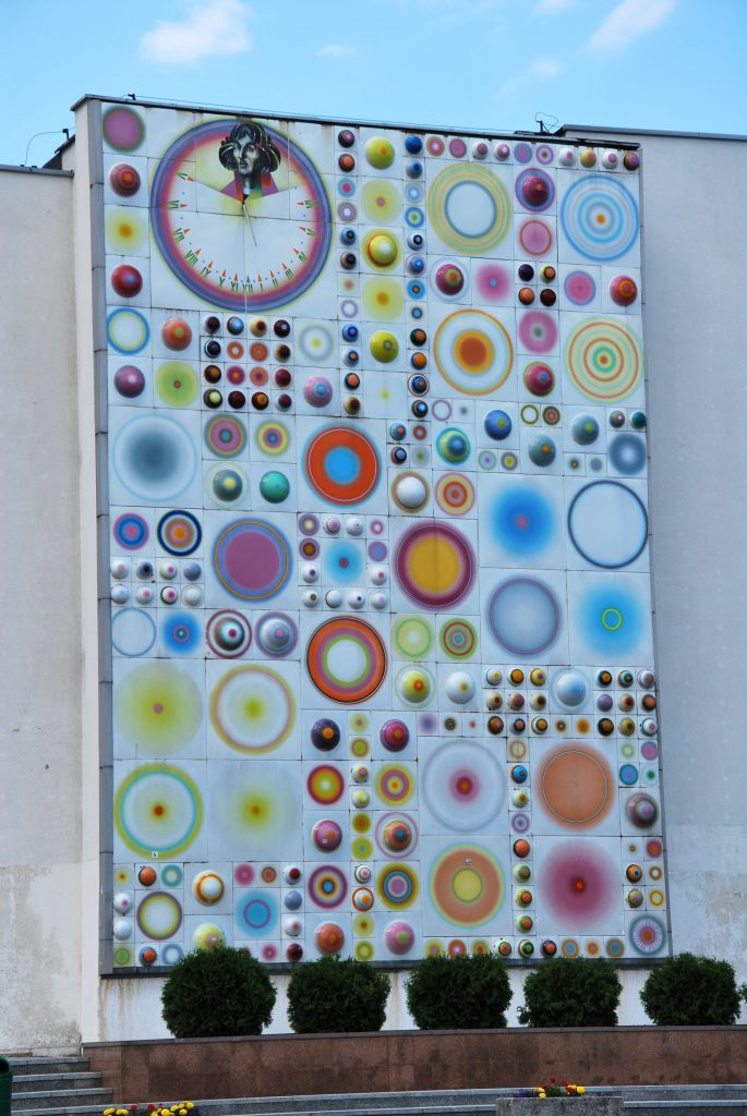 Large mosiac on display at Nicolaus Copernicus University in Toruń, Poland. Enamel on steel. 1972. 1,600 square ft.
